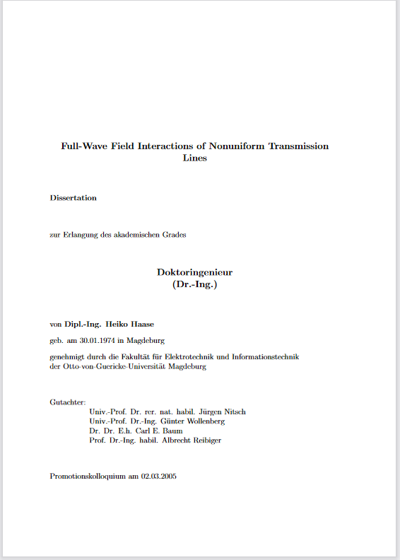 Ansehen Bd. 9 (2005): Haase, Heiko: Full-wave field interactions of nonuniform transmission lines