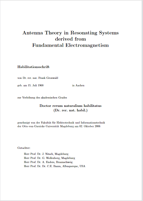 Ansehen Bd. 16 (2006): Gronwald, Frank: Antenna theory in resonating systems derived from fundamental electromagnetism